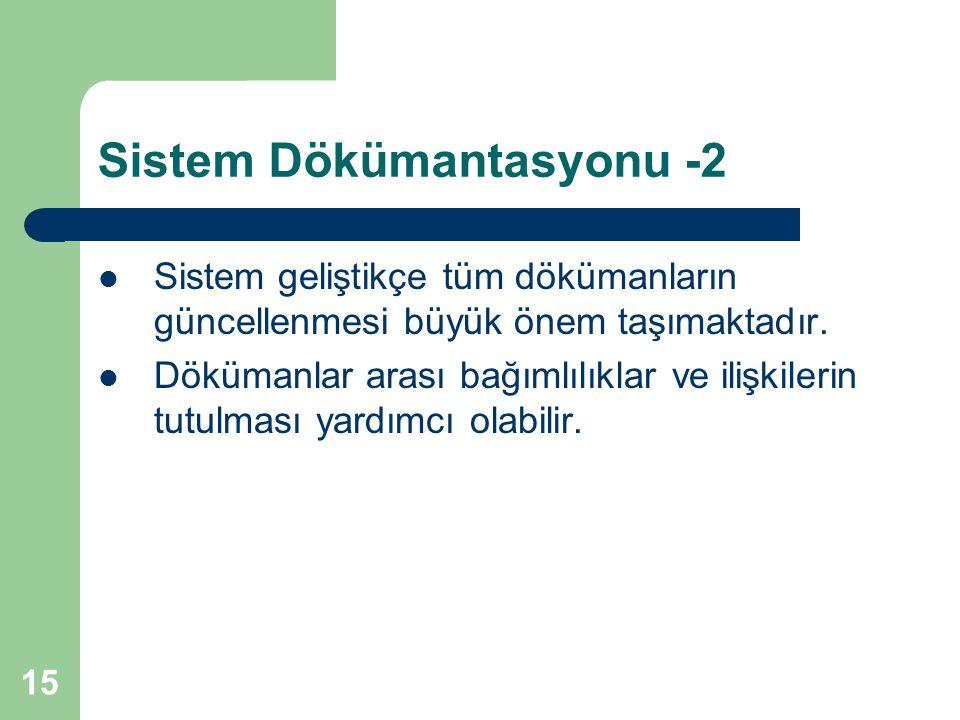 15 Sistem Dökümantasyonu -2 Sistem geliştikçe tüm dökümanların güncellenmesi büyük önem taşımaktadır.