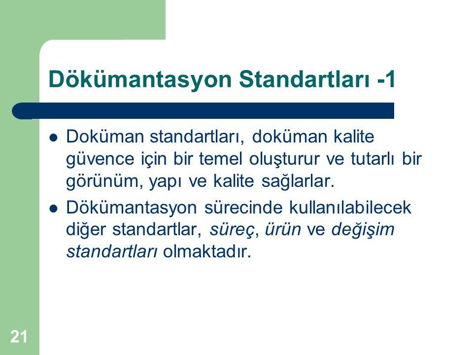 21 Dökümantasyon Standartları -1 Doküman standartları, doküman kalite güvence için bir temel oluşturur ve tutarlı bir görünüm, yapı ve kalite sağlarlar.