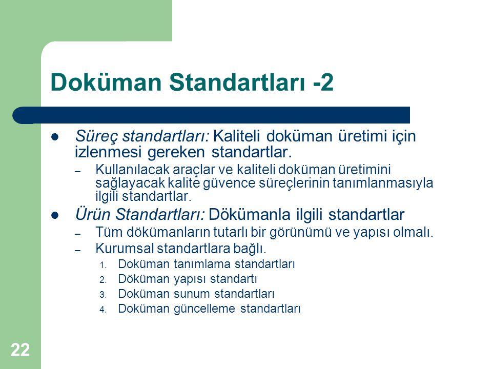 22 Doküman Standartları -2 Süreç standartları: Kaliteli doküman üretimi için izlenmesi gereken standartlar.