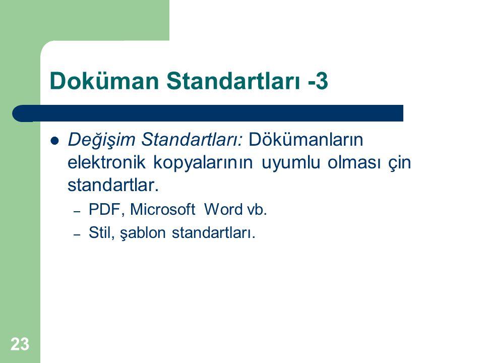 23 Doküman Standartları -3 Değişim Standartları: Dökümanların elektronik kopyalarının uyumlu olması çin standartlar.