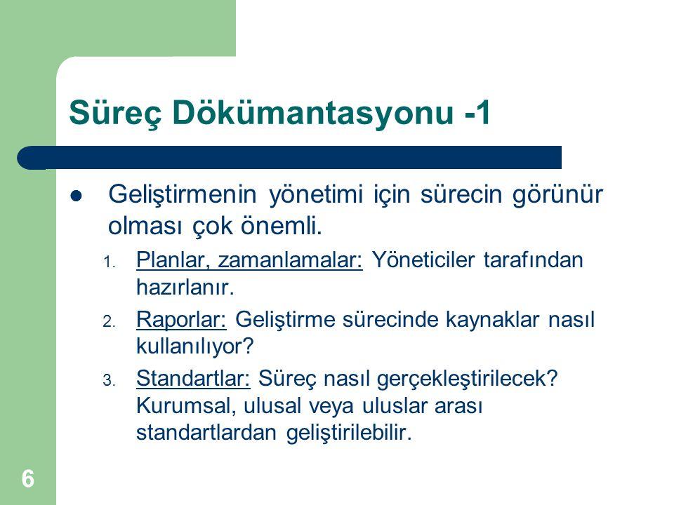 6 Süreç Dökümantasyonu -1 Geliştirmenin yönetimi için sürecin görünür olması çok önemli.