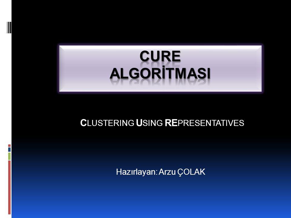 CURE  Bu durumda algoritmanın doğru kümelenmeleri bulması üç parametrenin değerine bağlıdır ;  küme sayısı  temsilci nokta sayısı  daraltma katsayısı
