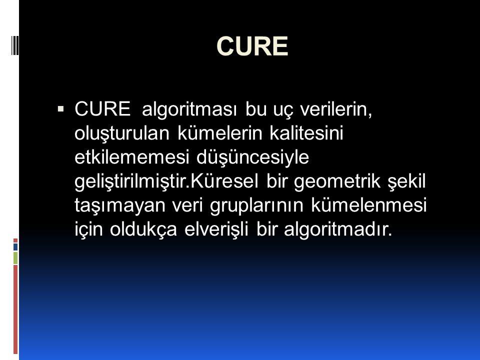 CURE  CURE dağınık bir şekil gösteren küme yapılarındaki küme içine alınıp alınamayacağına karar verilemeyen nesnelerin değerlendirilmesine faydalı bir yaklaşım önermektedir.