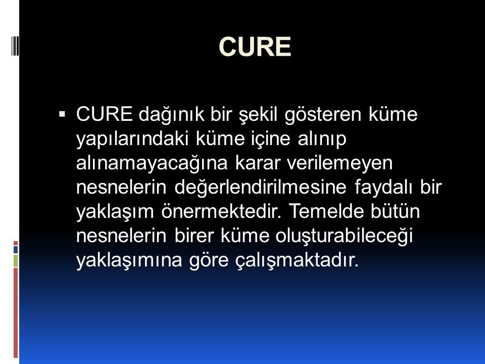 CURE  CURE algoritmasının başarılı sonuçlara ulaşabilmesi, parametrelerinin doğru seçilmesine bağlıdır.