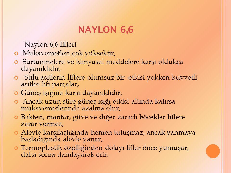 NAYLON 6,6 Naylon 6,6 lifleri Mukavemetleri çok yüksektir, Sürtünmelere ve kimyasal maddelere karşı oldukça dayanıklıdır, Sulu asitlerin liflere olums