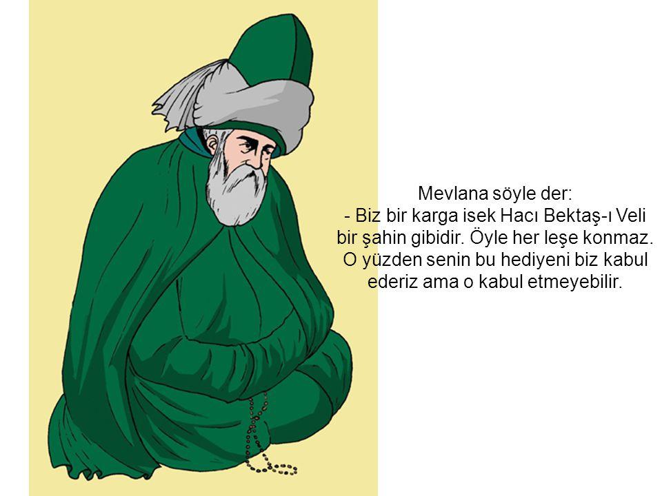 Mevlana söyle der: - Biz bir karga isek Hacı Bektaş-ı Veli bir şahin gibidir.