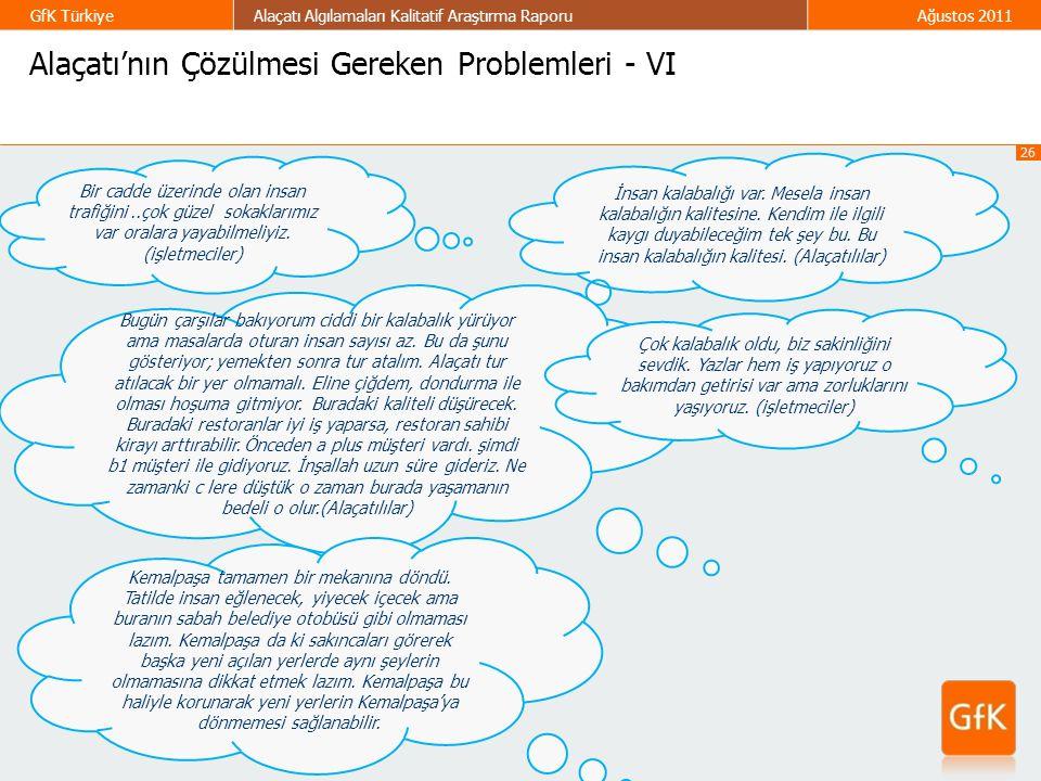 26 GfK TürkiyeAlaçatı Algılamaları Kalitatif Araştırma RaporuAğustos 2011 Alaçatı'nın Çözülmesi Gereken Problemleri - VI Bir cadde üzerinde olan insan