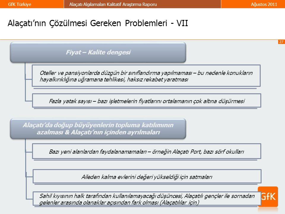 27 GfK TürkiyeAlaçatı Algılamaları Kalitatif Araştırma RaporuAğustos 2011 Fiyat – Kalite dengesi Oteller ve pansiyonlarda düzgün bir sınıflandırma yap