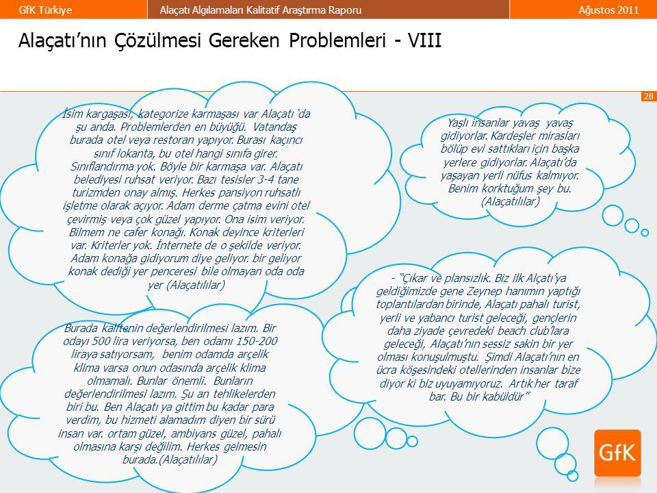 28 GfK TürkiyeAlaçatı Algılamaları Kalitatif Araştırma RaporuAğustos 2011 Alaçatı'nın Çözülmesi Gereken Problemleri - VIII İsim kargaşası, kategorize