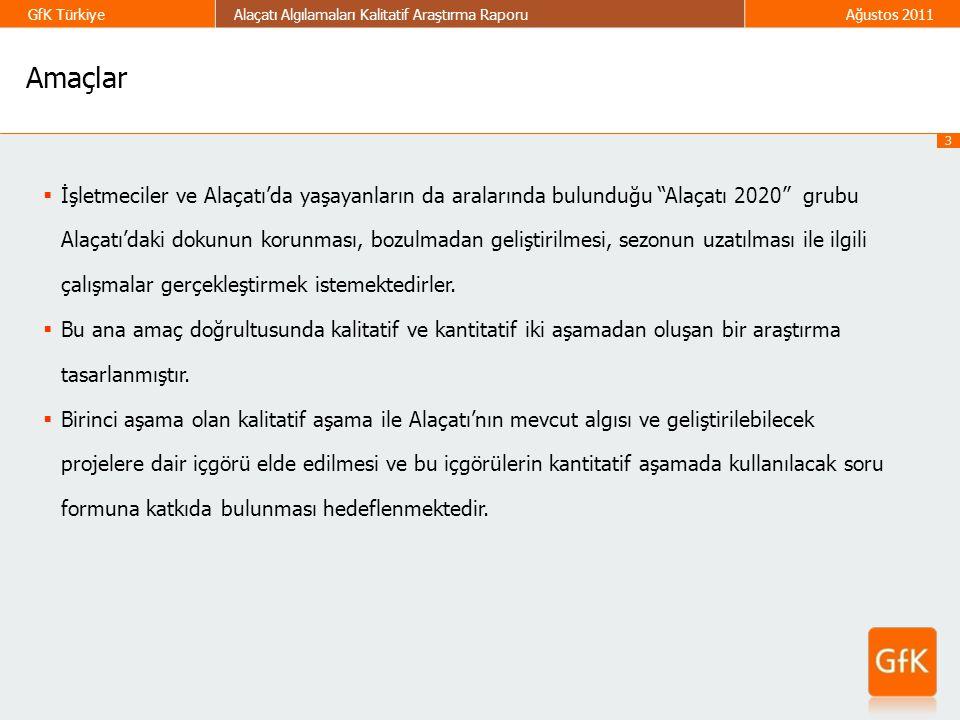 """3 GfK TürkiyeAlaçatı Algılamaları Kalitatif Araştırma RaporuAğustos 2011  İşletmeciler ve Alaçatı'da yaşayanların da aralarında bulunduğu """"Alaçatı 20"""
