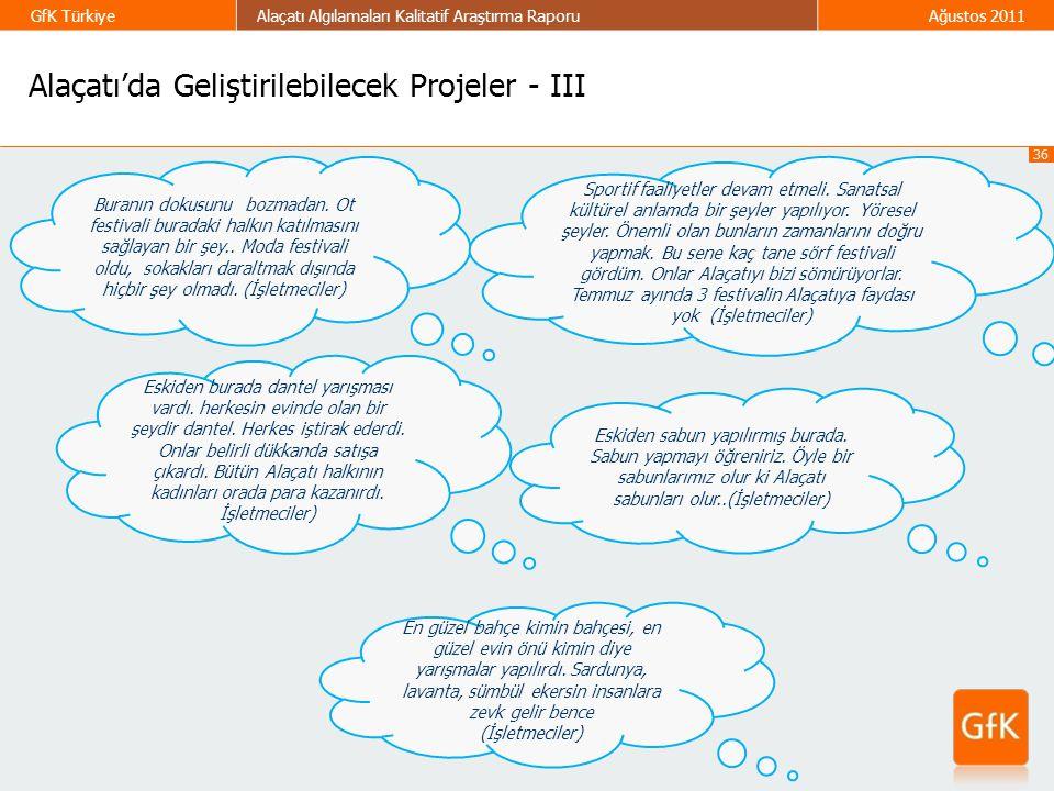 36 GfK TürkiyeAlaçatı Algılamaları Kalitatif Araştırma RaporuAğustos 2011 Alaçatı'da Geliştirilebilecek Projeler - III Buranın dokusunu bozmadan. Ot f