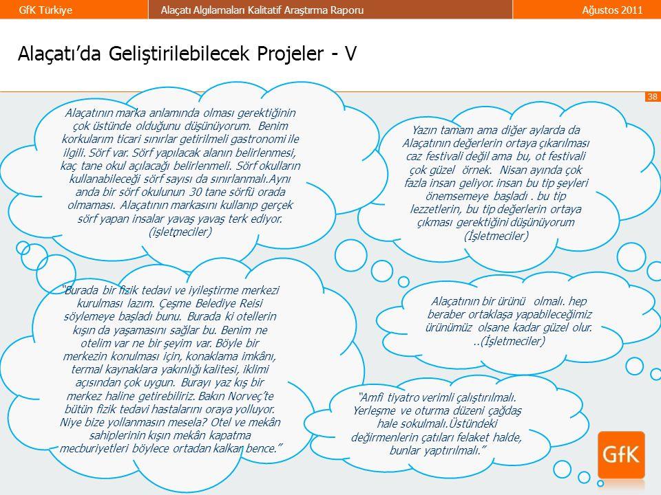 38 GfK TürkiyeAlaçatı Algılamaları Kalitatif Araştırma RaporuAğustos 2011 Alaçatı'da Geliştirilebilecek Projeler - V Yazın tamam ama diğer aylarda da
