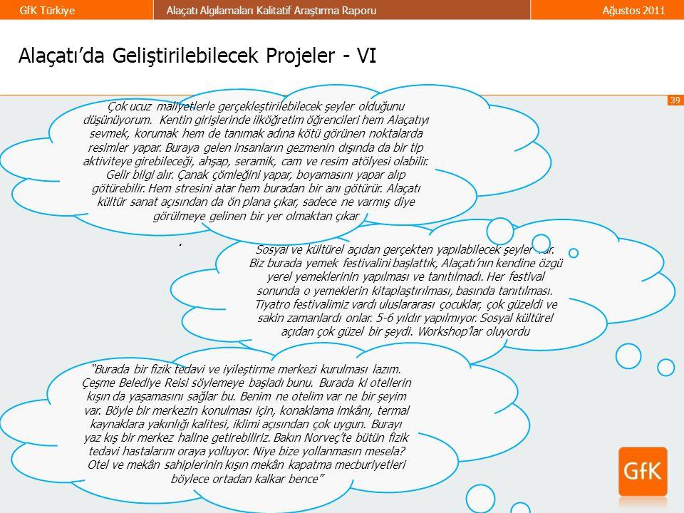 39 GfK TürkiyeAlaçatı Algılamaları Kalitatif Araştırma RaporuAğustos 2011 Alaçatı'da Geliştirilebilecek Projeler - VI. Sosyal ve kültürel açıdan gerçe