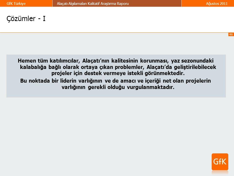 46 GfK TürkiyeAlaçatı Algılamaları Kalitatif Araştırma RaporuAğustos 2011 Çözümler - I Hemen tüm katılımcılar, Alaçatı'nın kalitesinin korunması, yaz