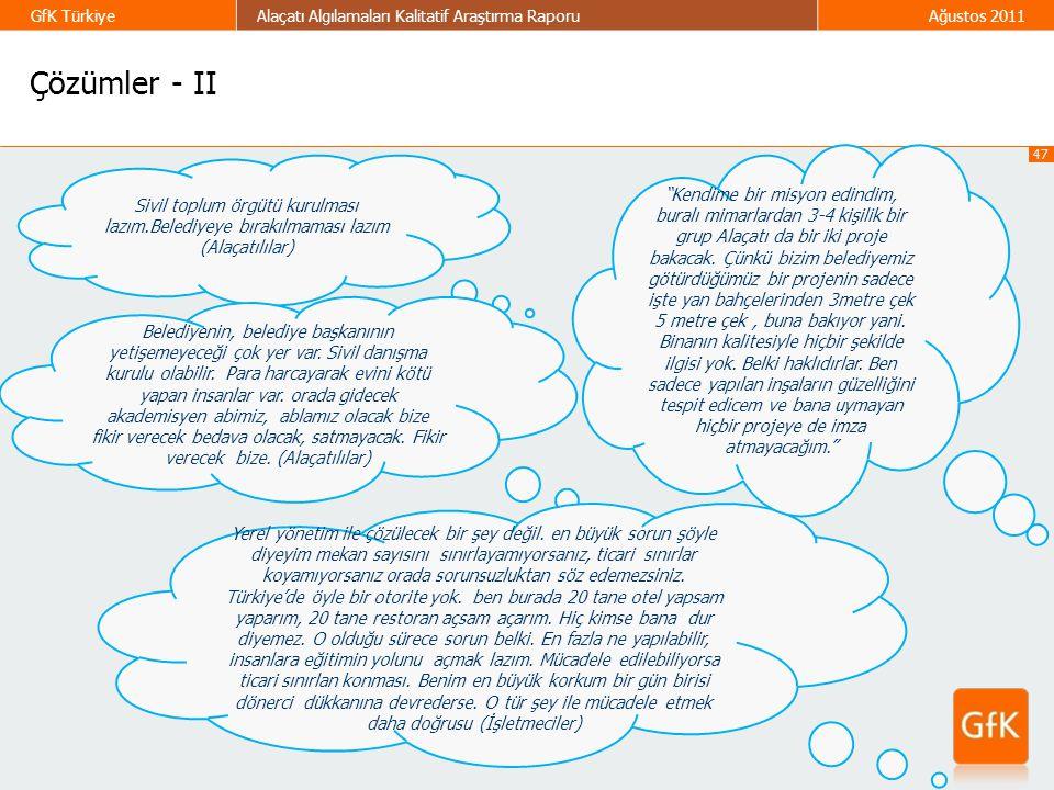 47 GfK TürkiyeAlaçatı Algılamaları Kalitatif Araştırma RaporuAğustos 2011 Çözümler - II Sivil toplum örgütü kurulması lazım.Belediyeye bırakılmaması l