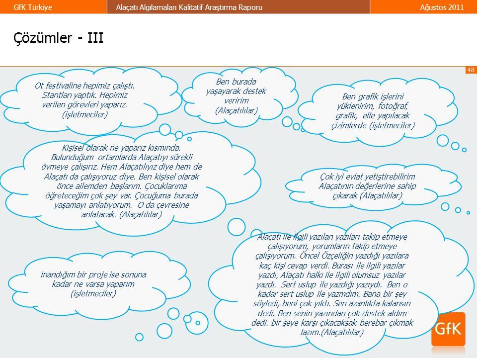 48 GfK TürkiyeAlaçatı Algılamaları Kalitatif Araştırma RaporuAğustos 2011 Çözümler - III Ben burada yaşayarak destek veririm (Alaçatılılar) Kişisel ol