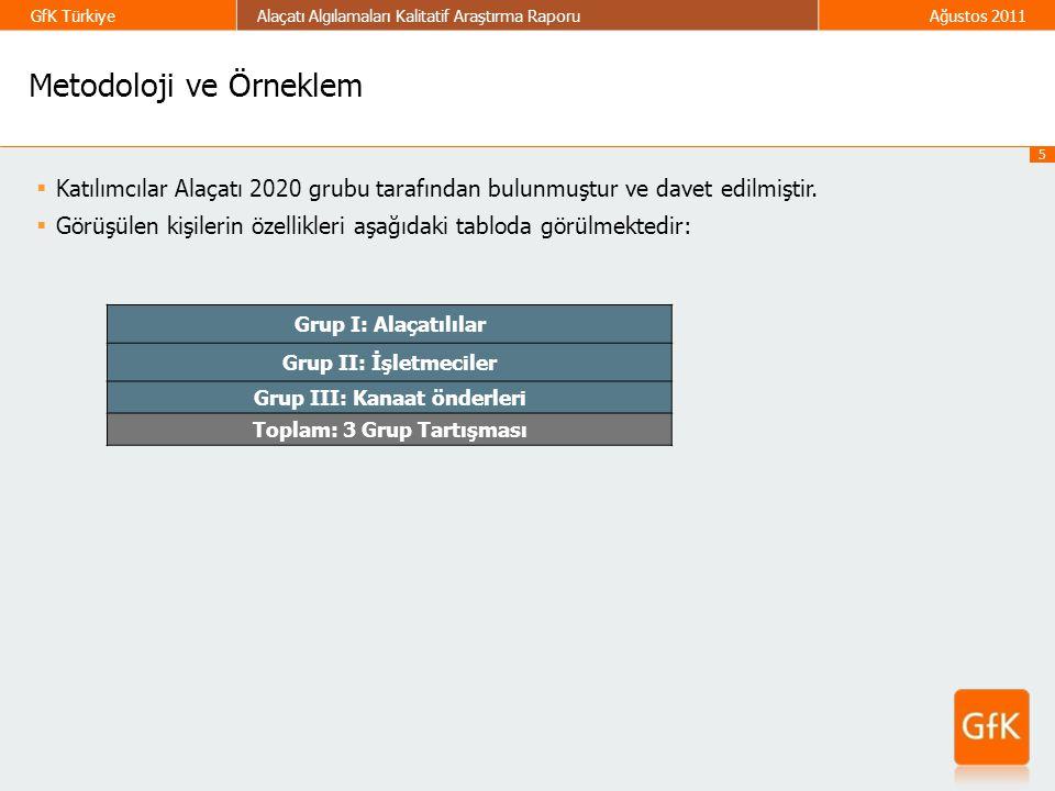 5 GfK TürkiyeAlaçatı Algılamaları Kalitatif Araştırma RaporuAğustos 2011  Katılımcılar Alaçatı 2020 grubu tarafından bulunmuştur ve davet edilmiştir.