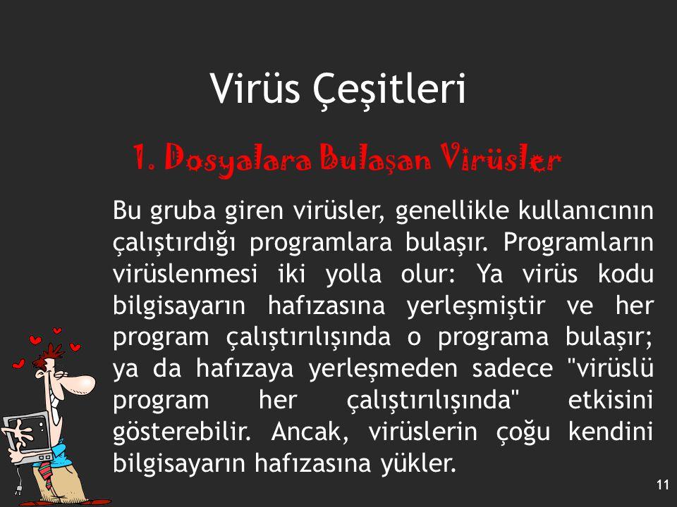 11 Virüs Çeşitleri 1. Dosyalara Bula ş an Virüsler Bu gruba giren virüsler, genellikle kullanıcının çalıştırdığı programlara bulaşır. Programların vir