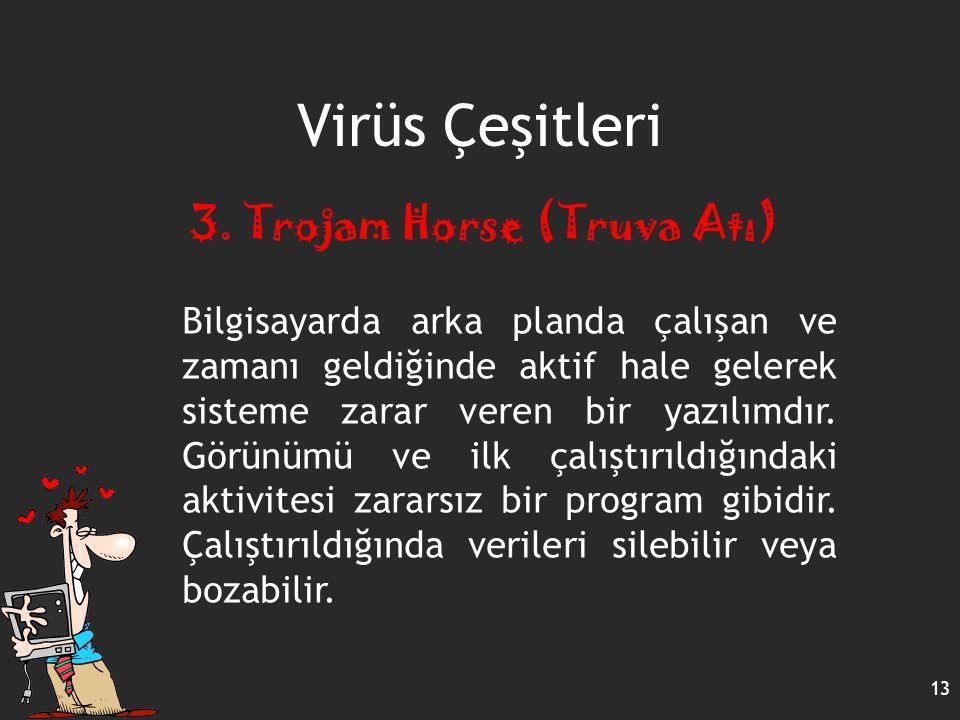 Virüs Çeşitleri 13 3. Trojam Horse (Truva Atı) Bilgisayarda arka planda çalışan ve zamanı geldiğinde aktif hale gelerek sisteme zarar veren bir yazılı