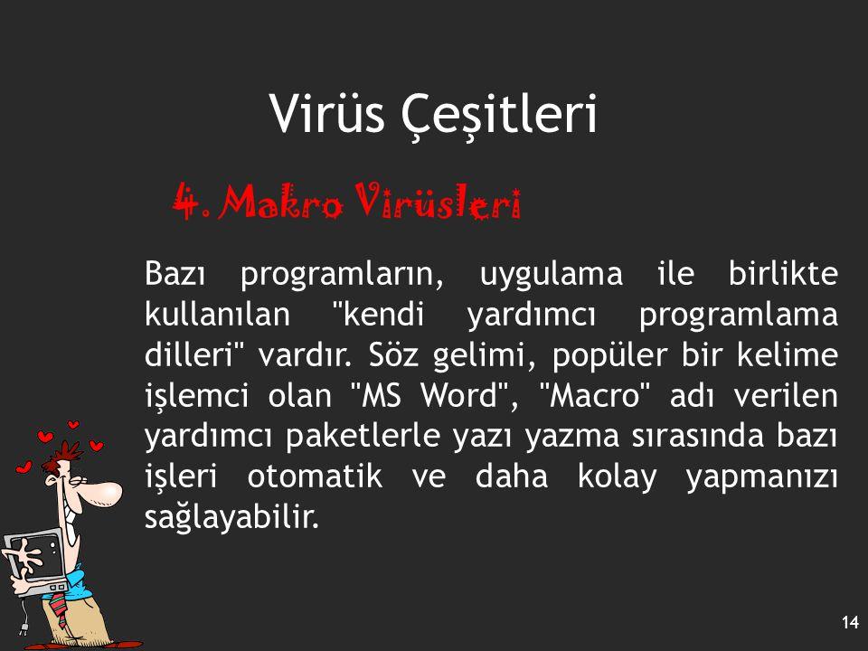 Virüs Çeşitleri 14 4. Makro Virüsleri Bazı programların, uygulama ile birlikte kullanılan