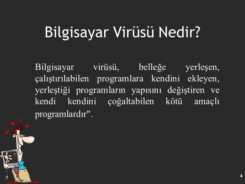 Virüs Çeşitleri 15 Programların bu özelliğini kullanarak yazılan virüslere macro virüsleri adı verilir.