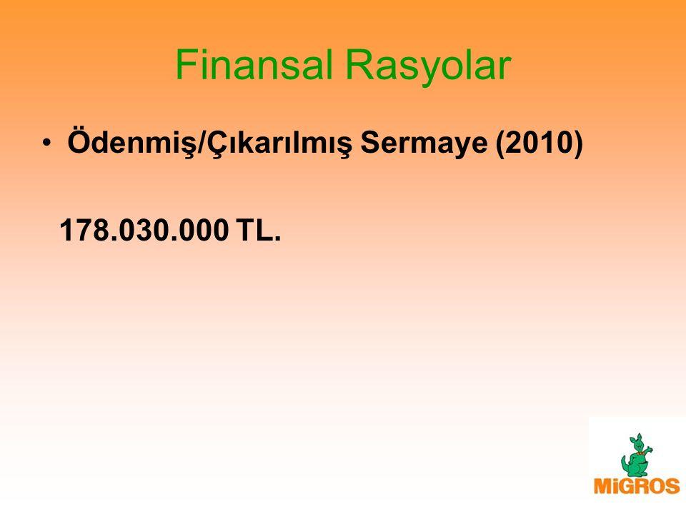 Finansal Rasyolar Ödenmiş/Çıkarılmış Sermaye (2010) 178.030.000 TL.