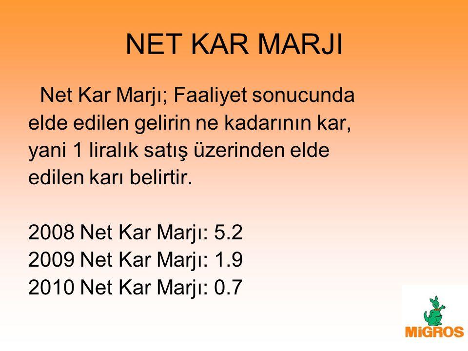 NET KAR MARJI Net Kar Marjı; Faaliyet sonucunda elde edilen gelirin ne kadarının kar, yani 1 liralık satış üzerinden elde edilen karı belirtir. 2008 N
