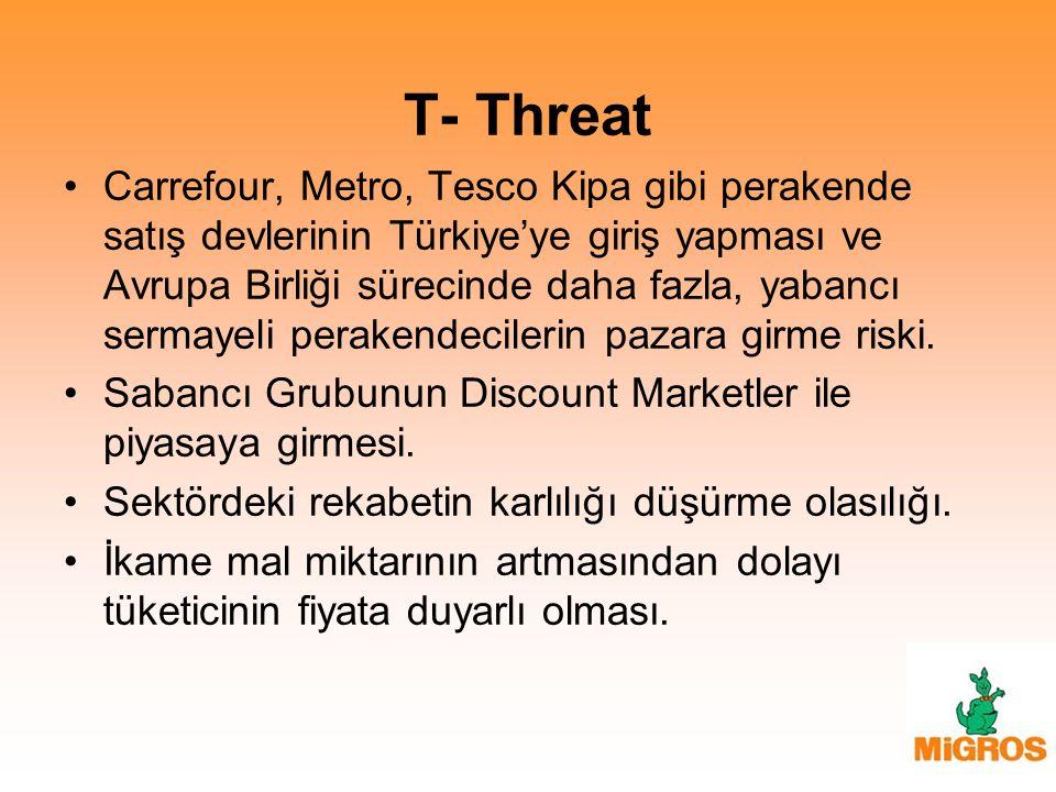 T- Threat Carrefour, Metro, Tesco Kipa gibi perakende satış devlerinin Türkiye'ye giriş yapması ve Avrupa Birliği sürecinde daha fazla, yabancı sermay