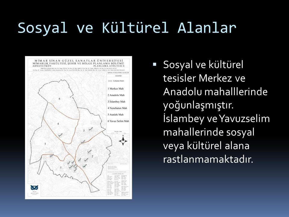 Sosyal ve Kültürel Alanlar  Sosyal ve kültürel tesisler Merkez ve Anadolu mahalllerinde yoğunlaşmıştır. İslambey ve Yavuzselim mahallerinde sosyal ve