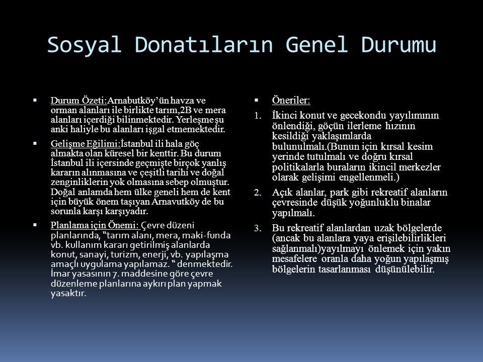 Sosyal Donatıların Genel Durumu  Durum Özeti:Arnabutköy'ün havza ve orman alanları ile birlikte tarım,2B ve mera alanları içerdiği bilinmektedir. Yer