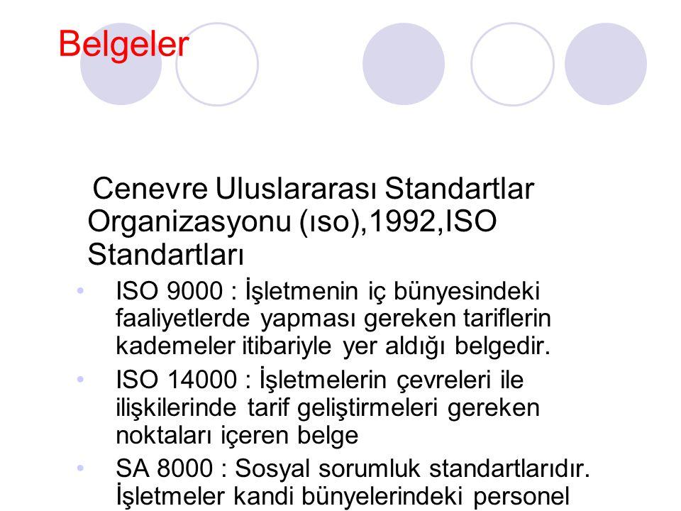 Belgeler Cenevre Uluslararası Standartlar Organizasyonu (ıso),1992,ISO Standartları ISO 9000 : İşletmenin iç bünyesindeki faaliyetlerde yapması gereke