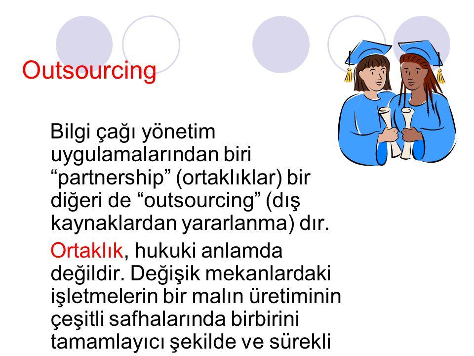 """Outsourcing Bilgi çağı yönetim uygulamalarından biri """"partnership"""" (ortaklıklar) bir diğeri de """"outsourcing"""" (dış kaynaklardan yararlanma) dır. Ortakl"""