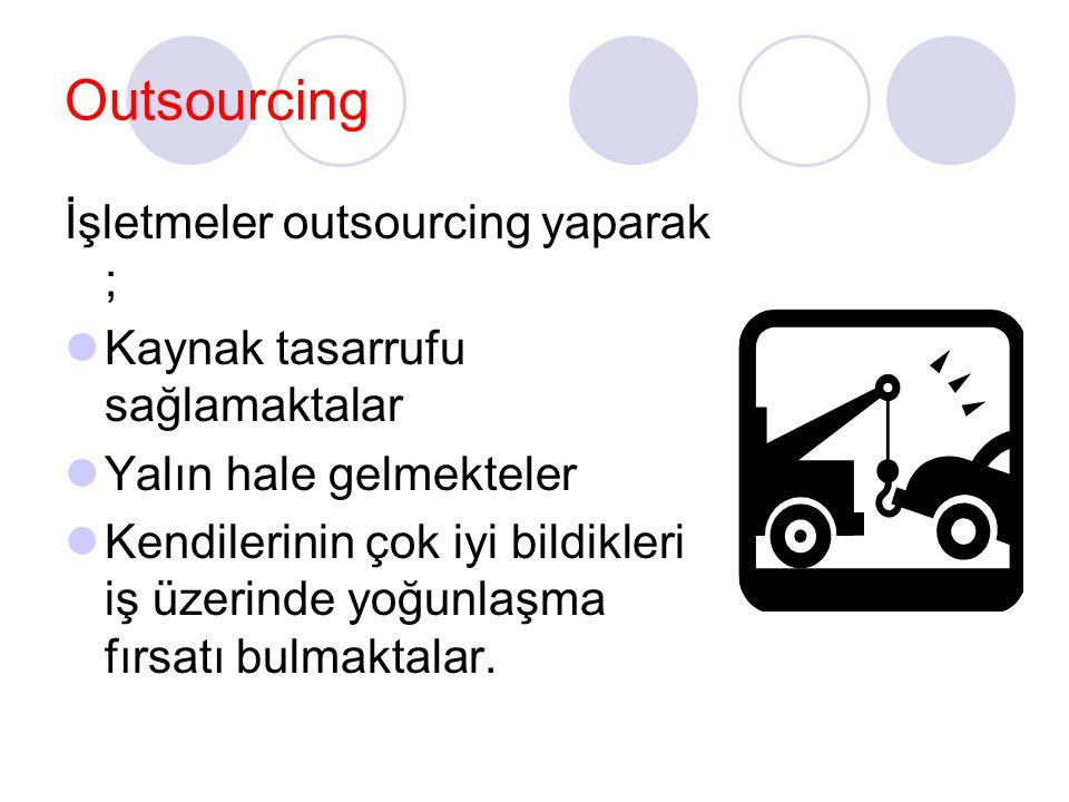 Outsourcing İşletmeler outsourcing yaparak ; Kaynak tasarrufu sağlamaktalar Yalın hale gelmekteler Kendilerinin çok iyi bildikleri iş üzerinde yoğunla