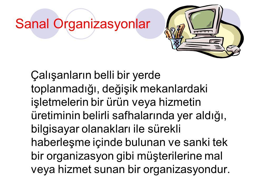 Sanal Organizasyonlar Çalışanların belli bir yerde toplanmadığı, değişik mekanlardaki işletmelerin bir ürün veya hizmetin üretiminin belirli safhaları
