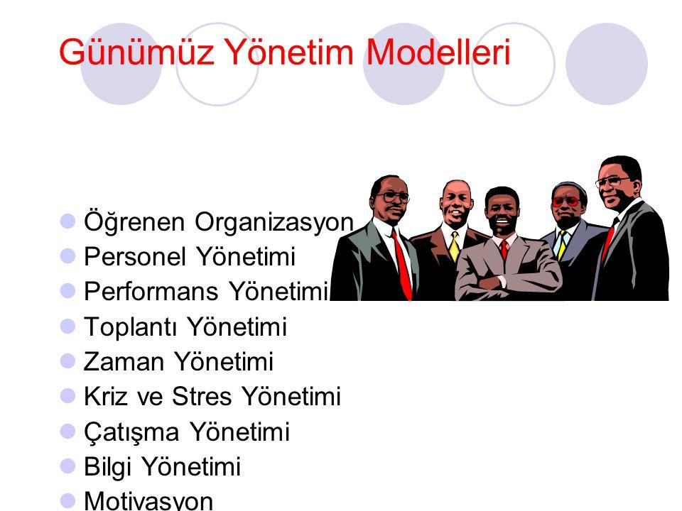 Günümüz Yönetim Modelleri Öğrenen Organizasyon Personel Yönetimi Performans Yönetimi Toplantı Yönetimi Zaman Yönetimi Kriz ve Stres Yönetimi Çatışma Y