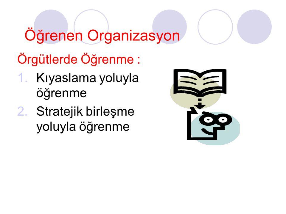 Öğrenen Organizasyon Örgütlerde Öğrenme : 1.Kıyaslama yoluyla öğrenme 2.Stratejik birleşme yoluyla öğrenme