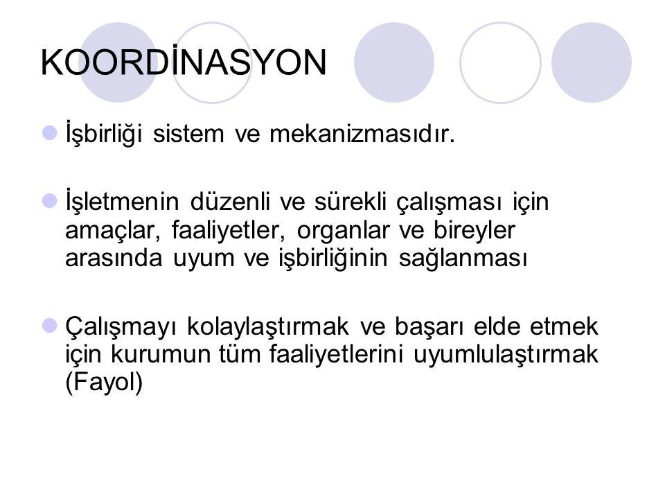 KOORDİNASYON İşbirliği sistem ve mekanizmasıdır. İşletmenin düzenli ve sürekli çalışması için amaçlar, faaliyetler, organlar ve bireyler arasında uyum