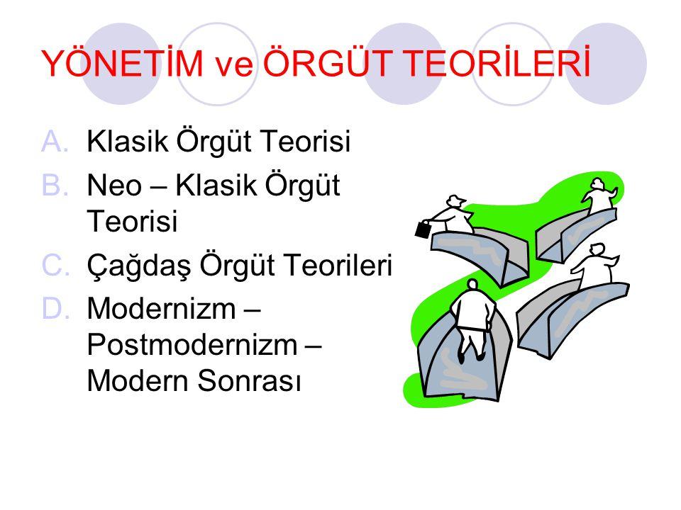 YÖNETİM ve ÖRGÜT TEORİLERİ A.Klasik Örgüt Teorisi B.Neo – Klasik Örgüt Teorisi C.Çağdaş Örgüt Teorileri D.Modernizm – Postmodernizm – Modern Sonrası