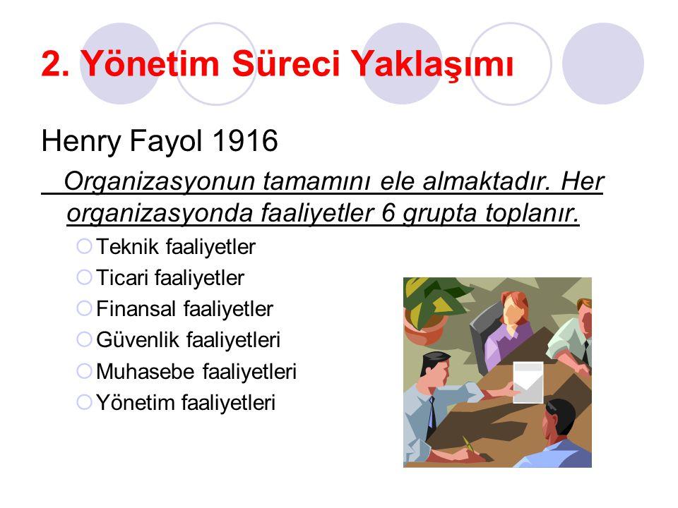 2. Yönetim Süreci Yaklaşımı Henry Fayol 1916 Organizasyonun tamamını ele almaktadır. Her organizasyonda faaliyetler 6 grupta toplanır.  Teknik faaliy
