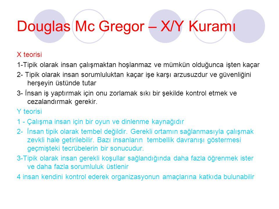 Douglas Mc Gregor – X/Y Kuramı X teorisi 1-Tipik olarak insan çalışmaktan hoşlanmaz ve mümkün olduğunca işten kaçar 2- Tipik olarak insan sorumlulukta