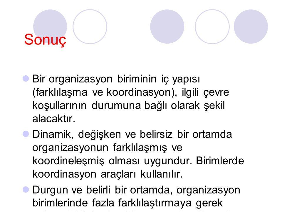 Sonuç Bir organizasyon biriminin iç yapısı (farklılaşma ve koordinasyon), ilgili çevre koşullarının durumuna bağlı olarak şekil alacaktır. Dinamik, de