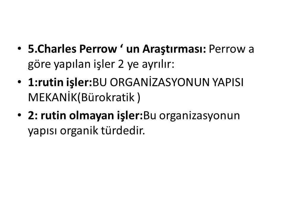 5.Charles Perrow ' un Araştırması: Perrow a göre yapılan işler 2 ye ayrılır: 1:rutin işler:BU ORGANİZASYONUN YAPISI MEKANİK(Bürokratik ) 2: rutin olma