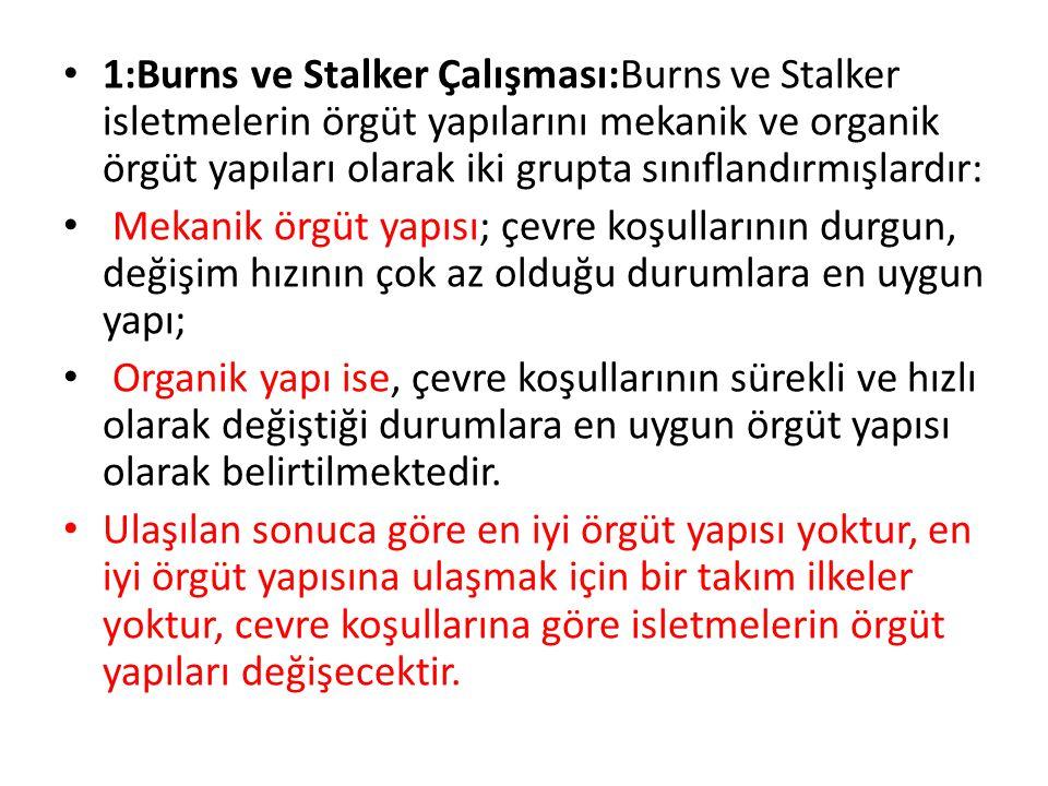 1:Burns ve Stalker Çalışması:Burns ve Stalker isletmelerin örgüt yapılarını mekanik ve organik örgüt yapıları olarak iki grupta sınıflandırmışlardır: