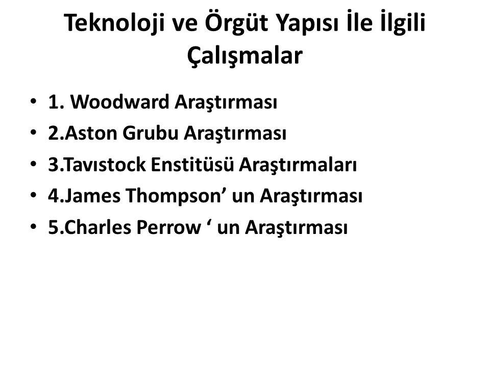Teknoloji ve Örgüt Yapısı İle İlgili Çalışmalar 1. Woodward Araştırması 2.Aston Grubu Araştırması 3.Tavıstock Enstitüsü Araştırmaları 4.James Thompson