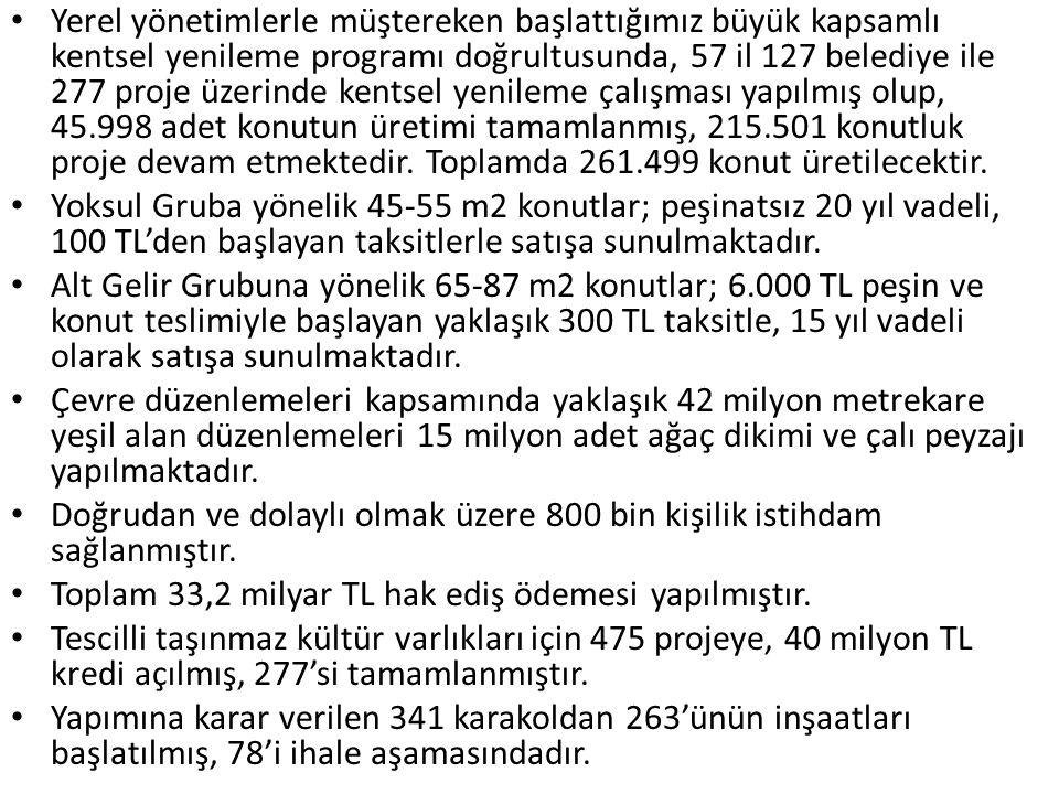Yerel yönetimlerle müştereken başlattığımız büyük kapsamlı kentsel yenileme programı doğrultusunda, 57 il 127 belediye ile 277 proje üzerinde kentsel