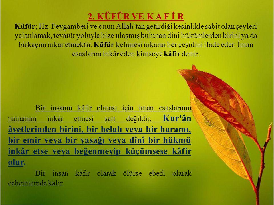 2. KÜFÜR VE K A F İ R Küfür; Hz. Peygamberi ve onun Allah'tan getirdiği kesinlikle sabit olan şeyleri yalanlamak, tevatür yoluyla bize ulaşmış bulunan