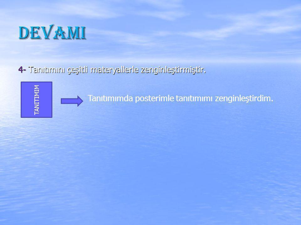 DEVAMI 4- Tanıtımını çeşitli materyallerle zenginleştirmiştir.