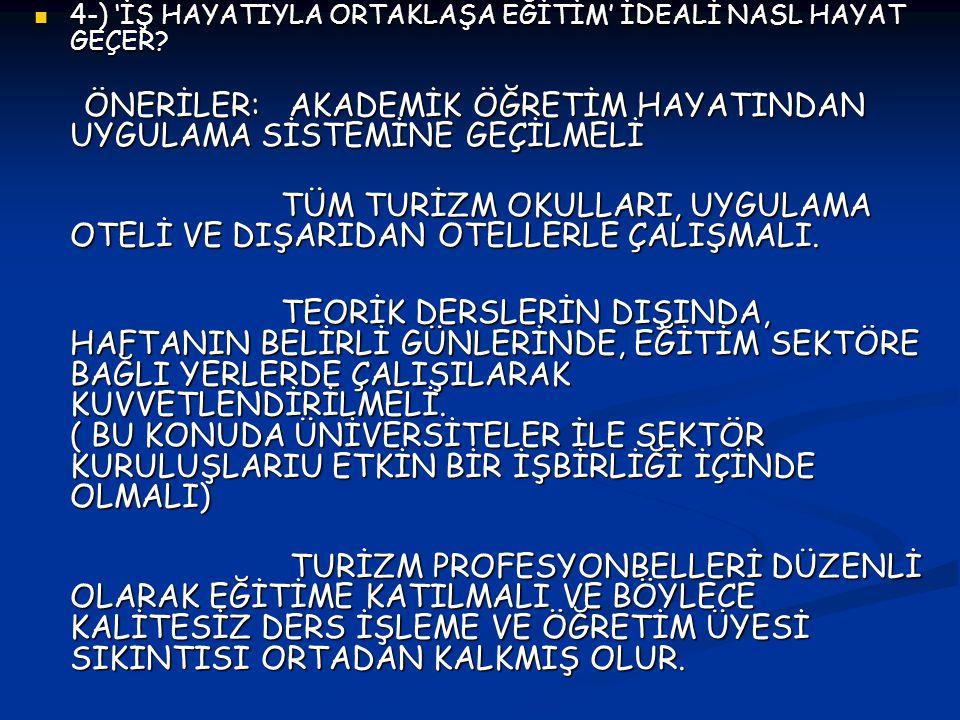 4-) 'İŞ HAYATIYLA ORTAKLAŞA EĞİTİM' İDEALİ NASL HAYAT GEÇER.