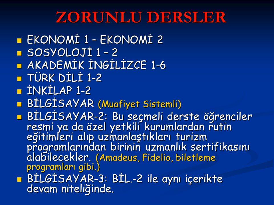 ZORUNLU DERSLER ZORUNLU DERSLER EKONOMİ 1 – EKONOMİ 2 EKONOMİ 1 – EKONOMİ 2 SOSYOLOJİ 1 – 2 SOSYOLOJİ 1 – 2 AKADEMİK İNGİLİZCE 1-6 AKADEMİK İNGİLİZCE 1-6 TÜRK DİLİ 1-2 TÜRK DİLİ 1-2 İNKİLAP 1-2 İNKİLAP 1-2 BİLGİSAYAR (Muafiyet Sistemli) BİLGİSAYAR (Muafiyet Sistemli) BİLGİSAYAR-2: Bu seçmeli derste öğrenciler resmi ya da özel yetkili kurumlardan rutin eğitimleri alıp uzmanlaştıkları turizm programlarından birinin uzmanlık sertifikasını alabilecekler.