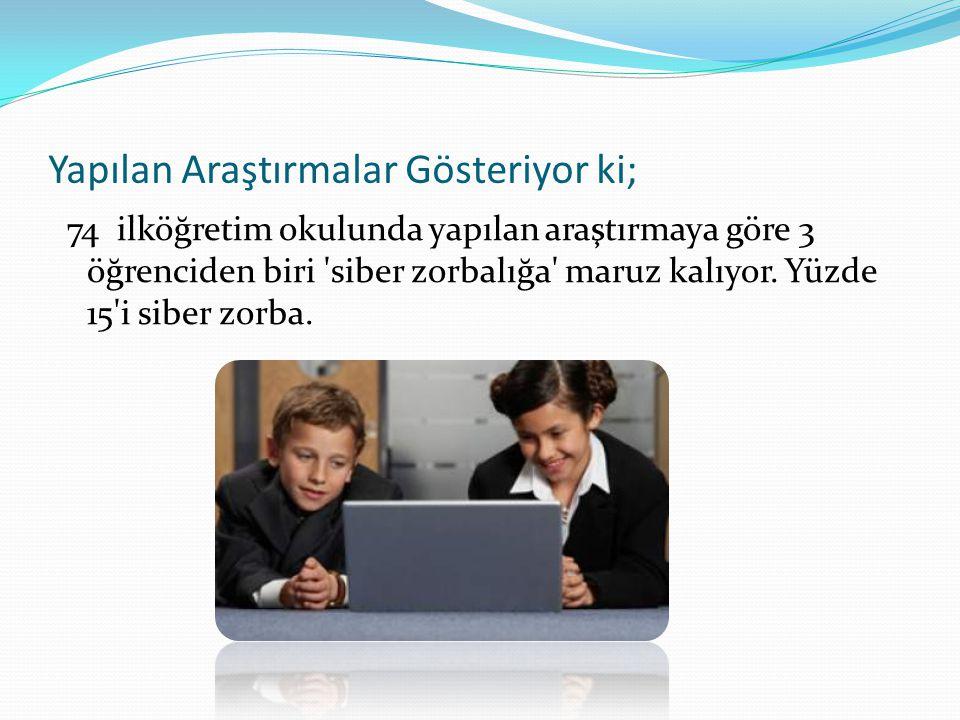 Yapılan Araştırmalar Gösteriyor ki; 74 ilköğretim okulunda yapılan araştırmaya göre 3 öğrenciden biri siber zorbalığa maruz kalıyor.